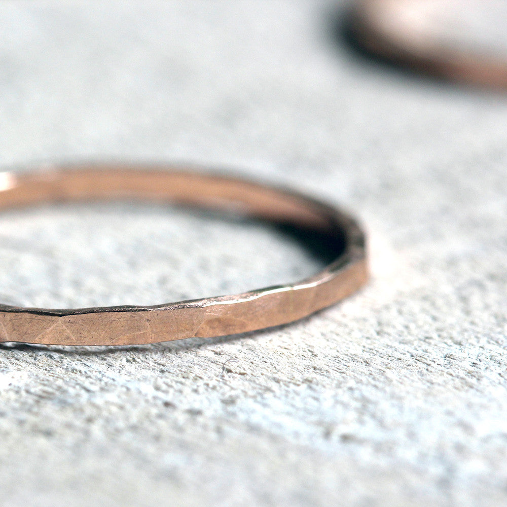 14k rose gold thin hammered band