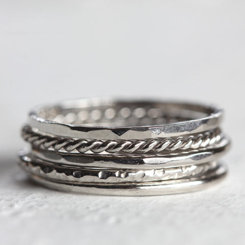 Platinum stacking rings - Large tall stack of 5 platinum rings