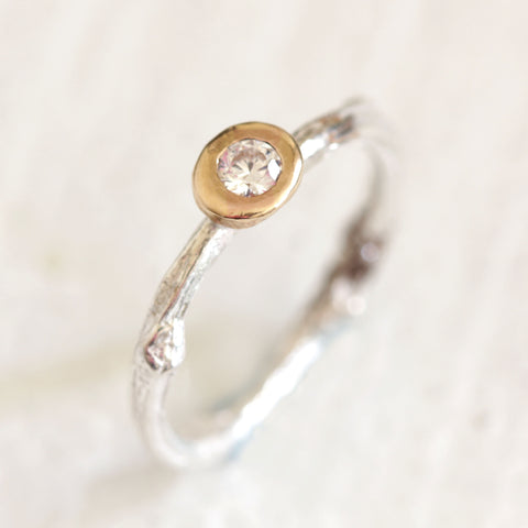 Twig branch diamond engagement ring