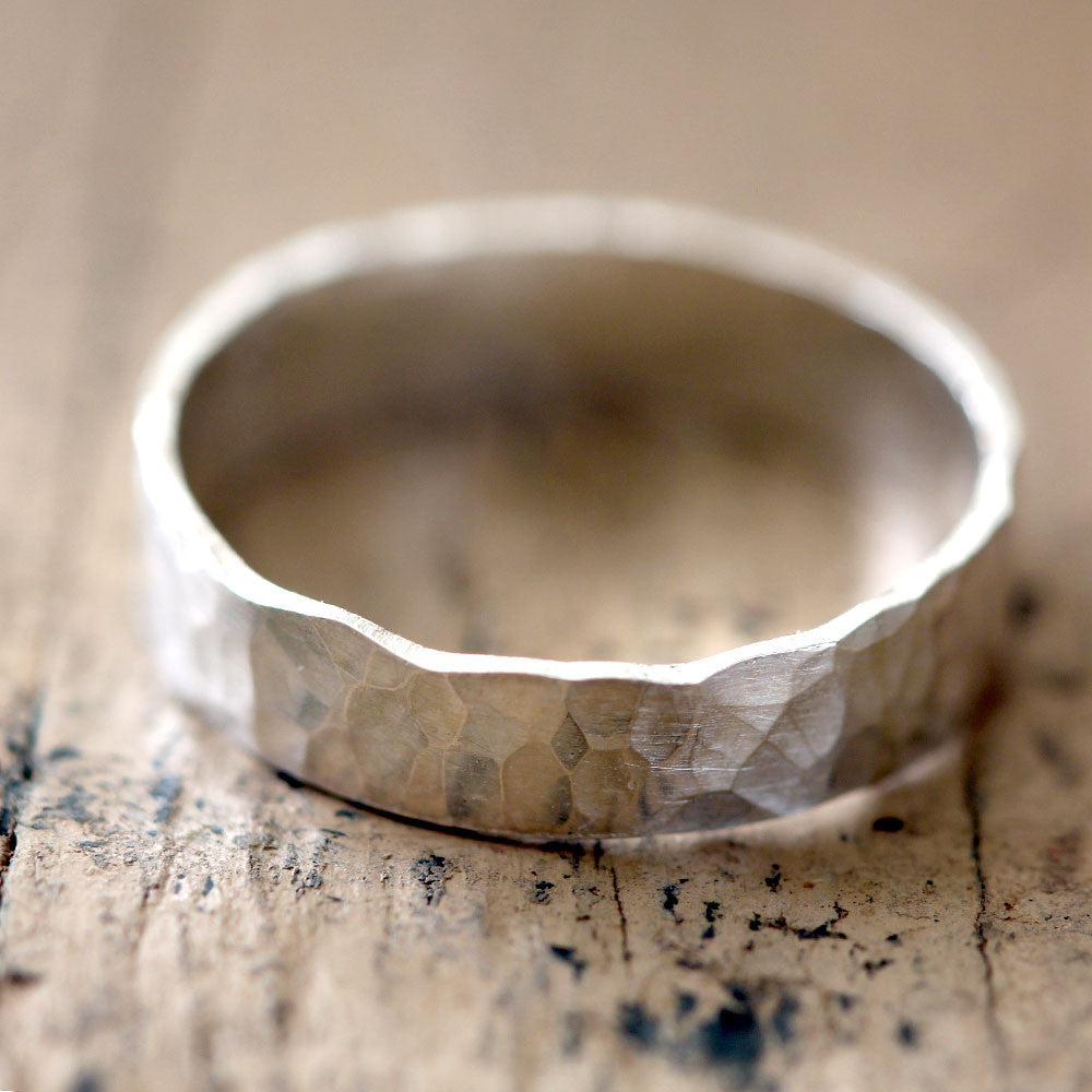 Narrow Hammered Wedding Ring Sterling Silver