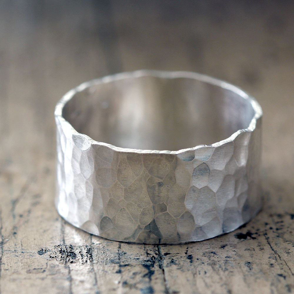 hammered wide band wedding ring - Wide Band Wedding Rings