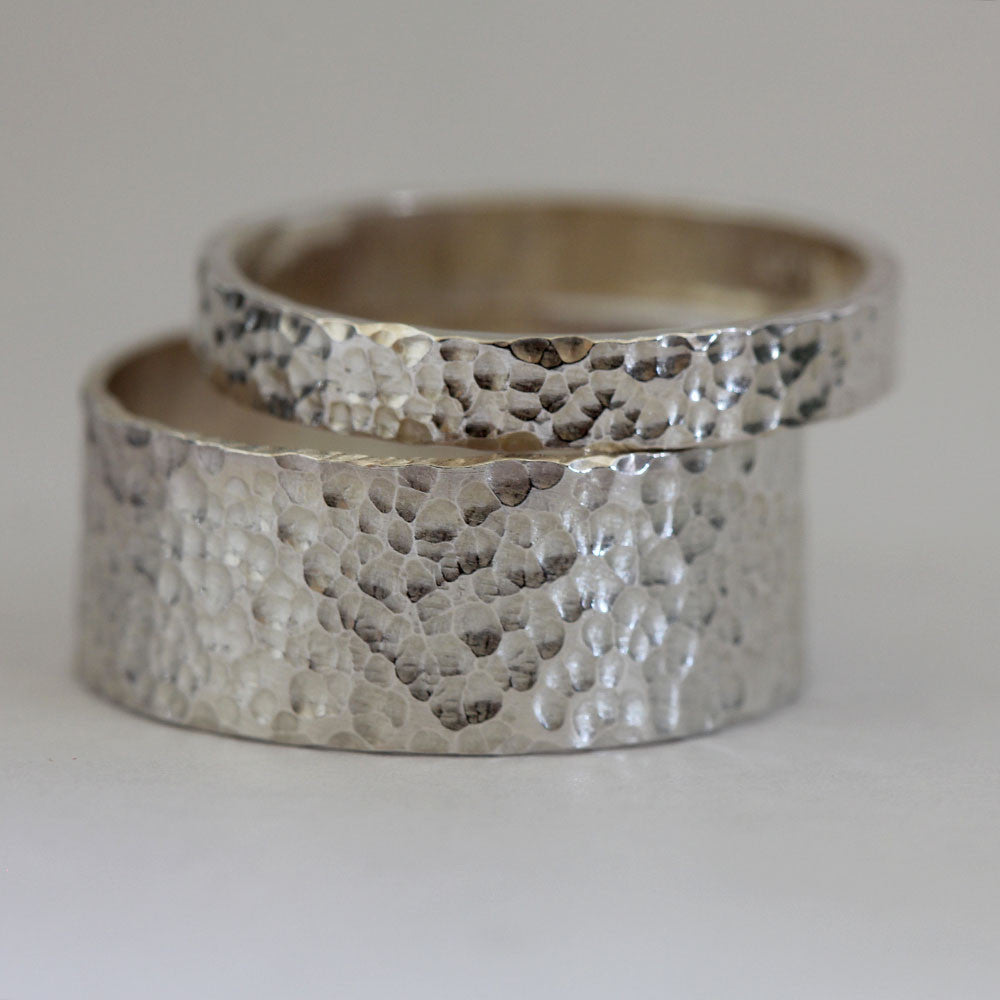 Hammered Silver Ring Wedding Ring Set