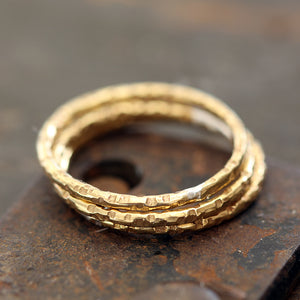 14k Gold Stacking Rings Textured set of 3