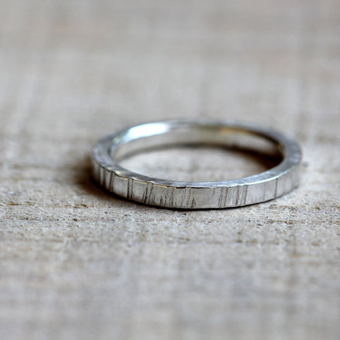 Sterling silver wood grain ring