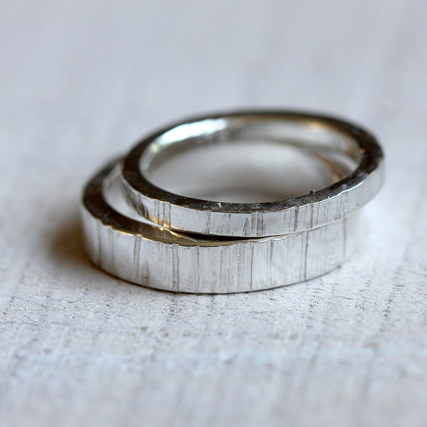 Sterling Silver tree bark wedding ring set
