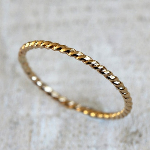 Solid 14k gold rope ring - twisted wire ring