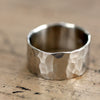 14k Gold Hammered Wide Band Wedding Ring