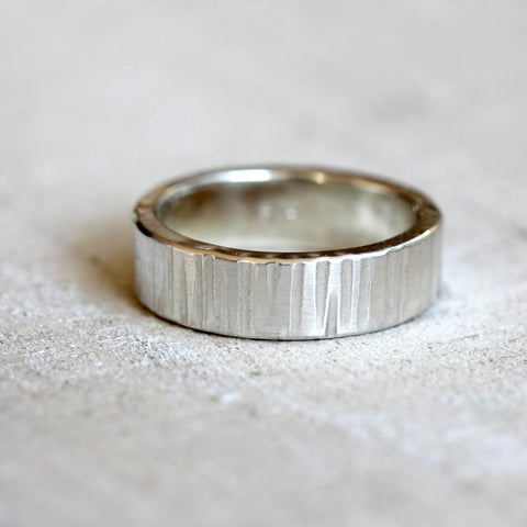 Wide Men's tree bark wedding ring