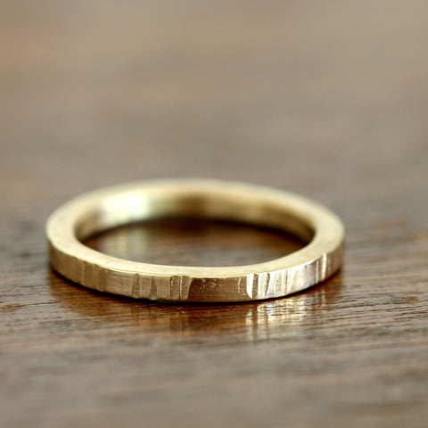 14k Gold Tree Bark Ring