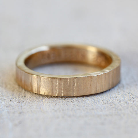 Men's 14k Gold Tree Bark Ring