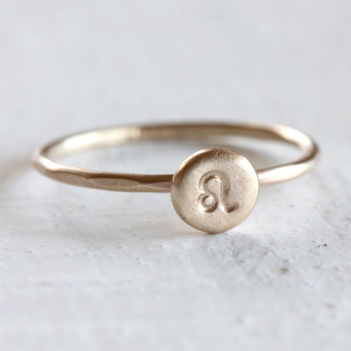 Solid Gold Zodiac Ring 14k Yellow or Rose gold stacking ring