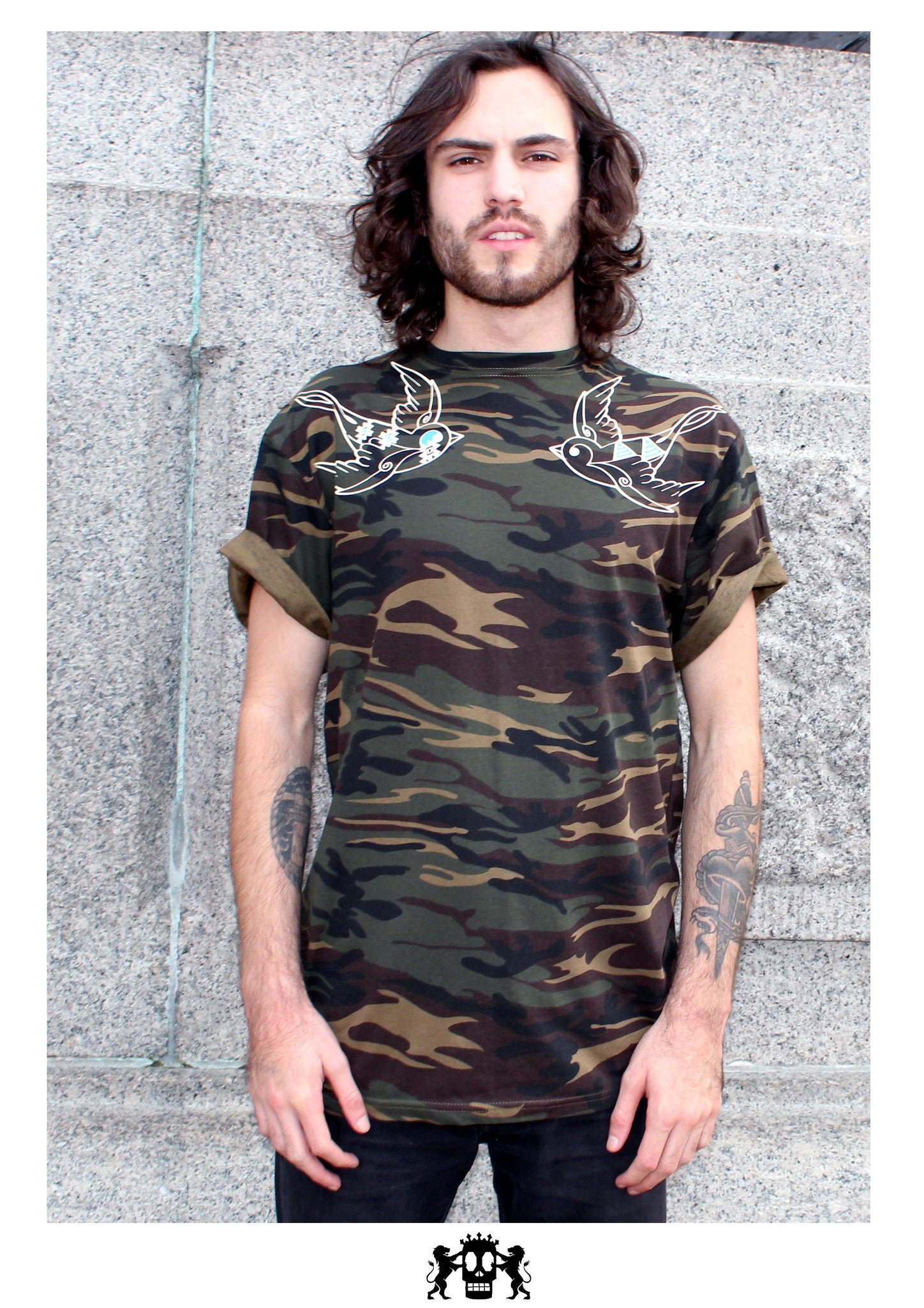 Peace And Swallows Camo Tee