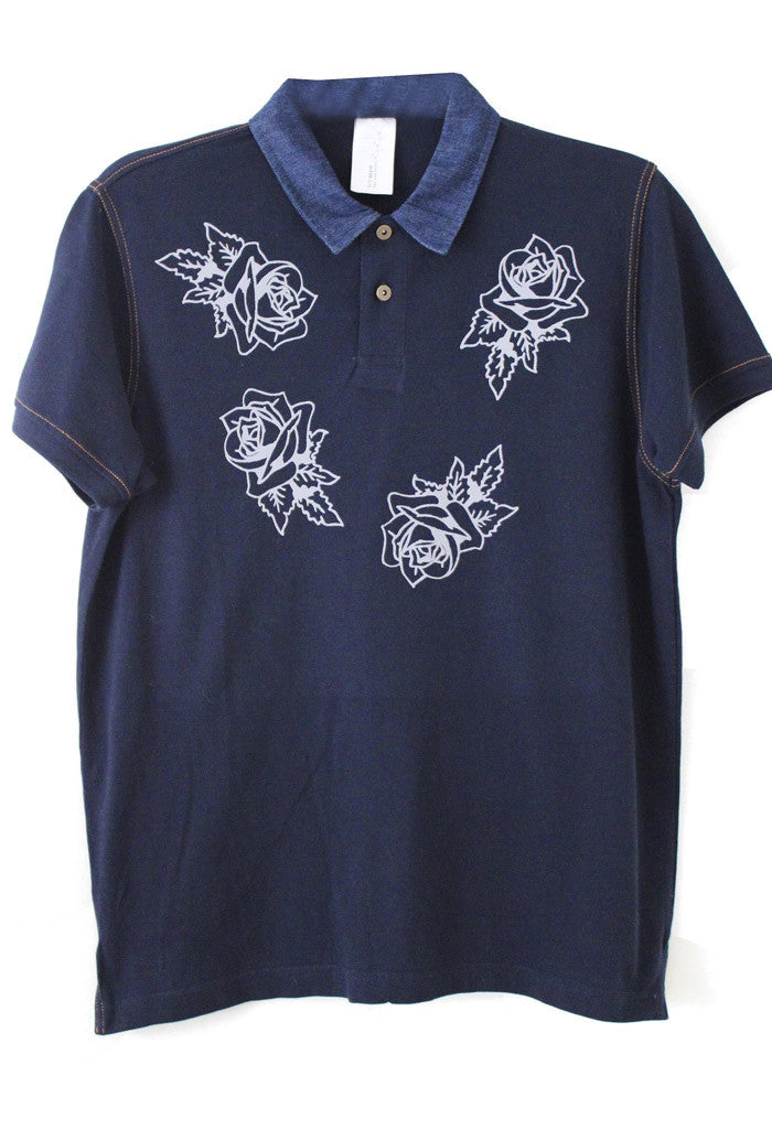 Denim Roses Polo Shirt