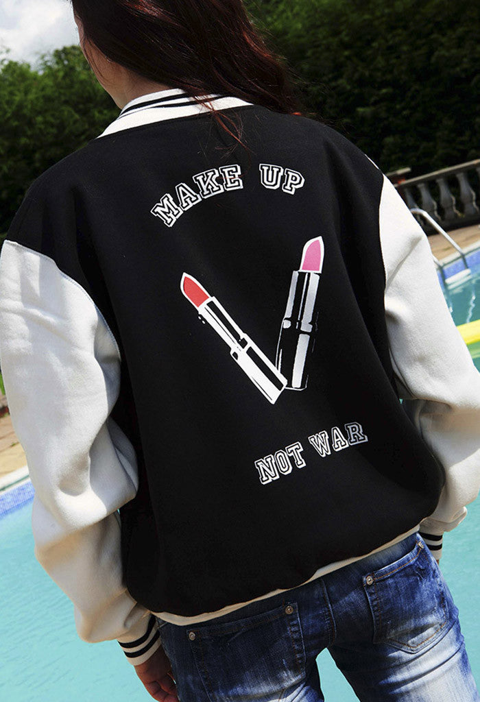 Make Up Not War Baseball Jacket