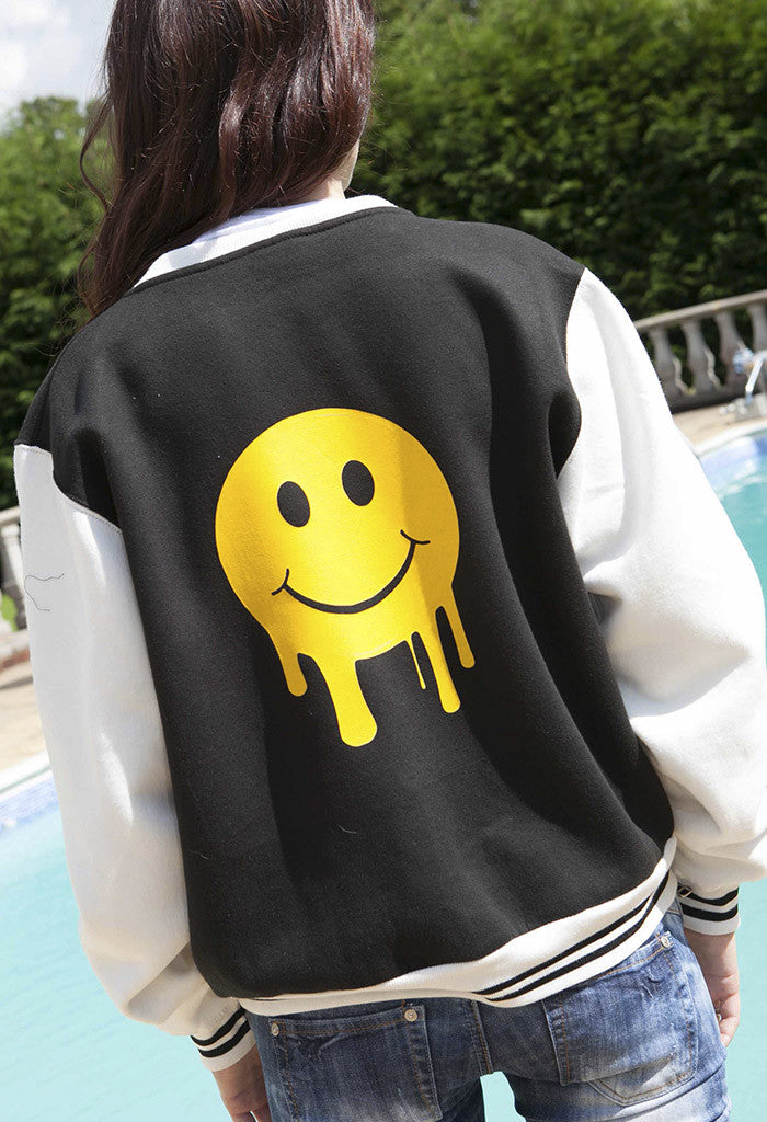 Womens Smiley Black & White Baseball Jacket