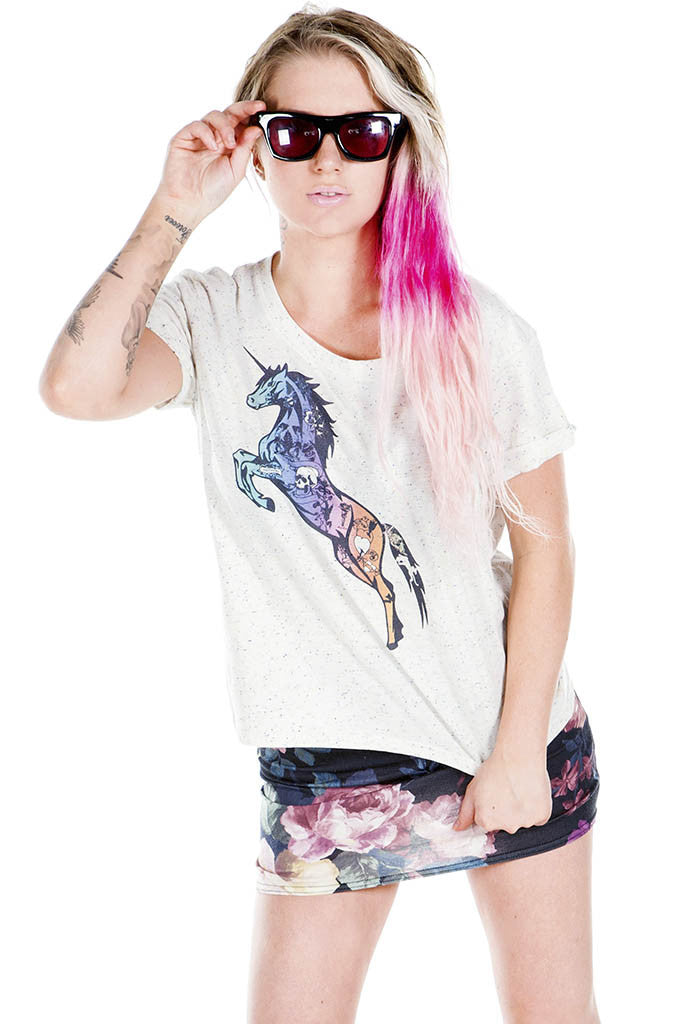 Tattooed Unicorn Cropped Top