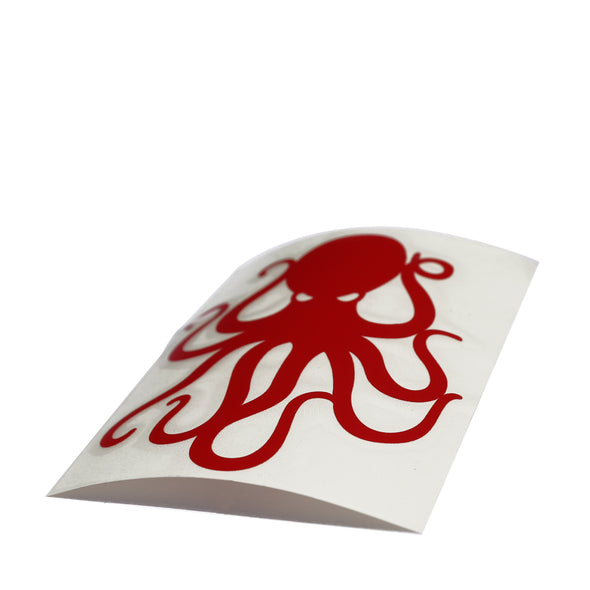 "4"" Red Vinyl Octopus Sticker"