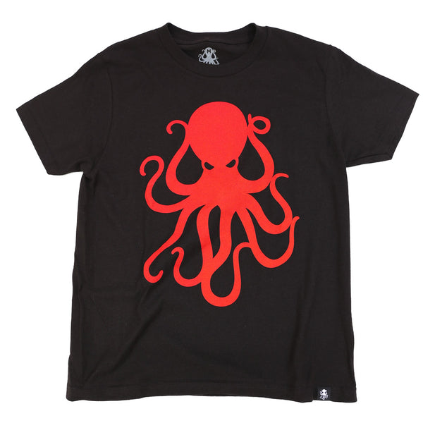 OCTOPUS Kid's Tee BLACK w/ RED