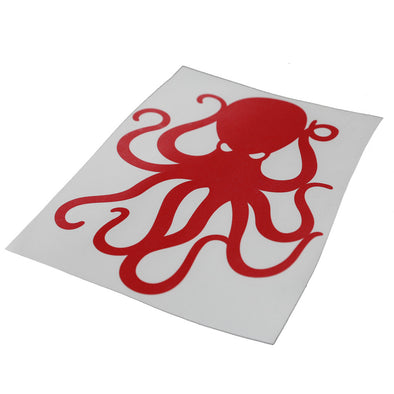 "8"" Red Vinyl Octopus Sticker"