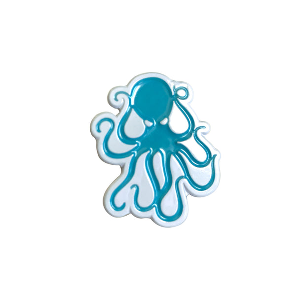 Octopus Enamel Pin - Lt Blue/White