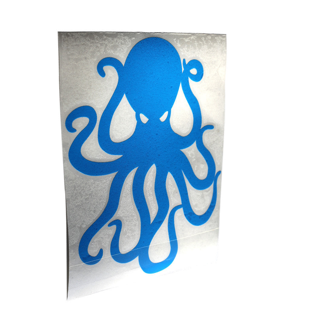 "8"" Cyan Vinyl Octopus Sticker"