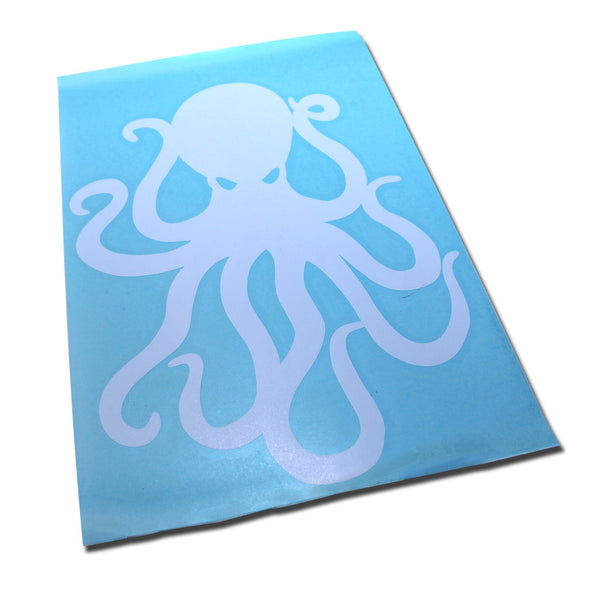 "8"" White Vinyl Octopus Sticker"