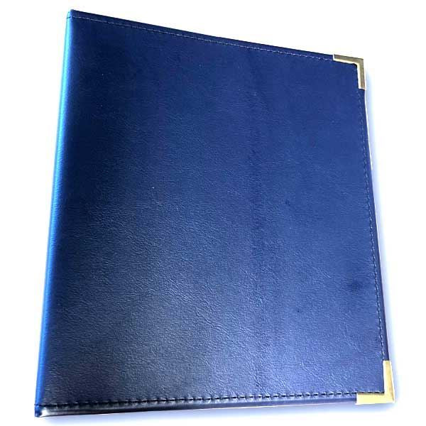 "Binder: 2"" Rings, Leather, Blue"