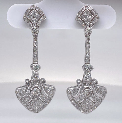 Estate Ladies Shield Drop Earrings