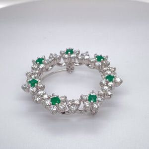 Ladies Emerald and Diamond Wreath Style Pin/Pendant