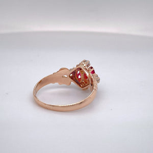 Ladies Handmade Ruby and Diamond Ring