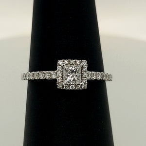 14k White Diamond Engagement Ring