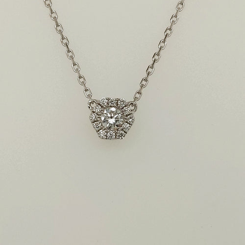 14k White Diamond Pendant