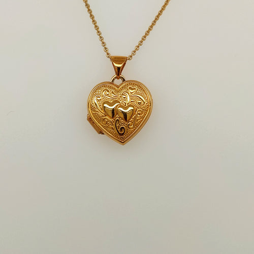 14k Yellow Gold Heart Shape Locket