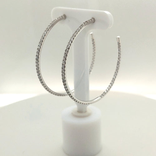 1 CTW Diamond Hoop Earrings
