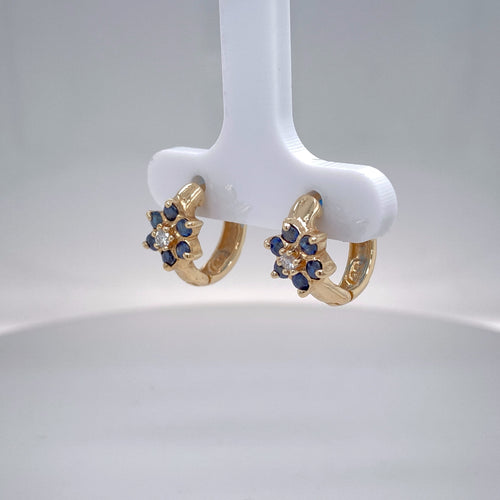 Estate Ladies Petite Sapphire and Diamond Huggie Hoops