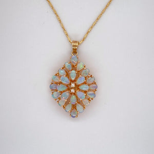 "Estate Ladies Opal & Diamond Flower Style Pendant with Vintage Style 18"" Chain"