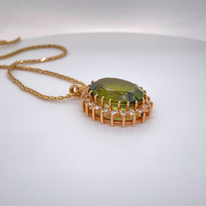 Estate Ladies Classic Peridot & Diamond Halo Pendant
