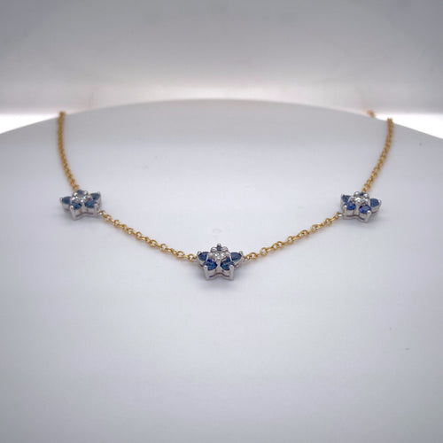 Estate Ladies Two-Tone Flower Style Sapphire and Diamond Necklace