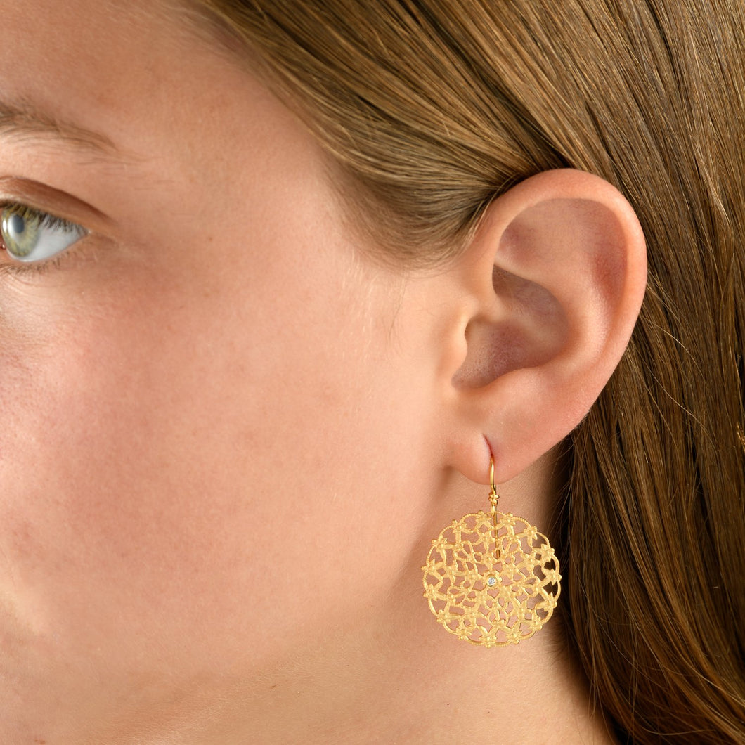 2784 - 14kt yellow round filigree drop earrings in a beautiful matte finish