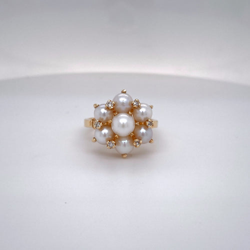 Estate Ladies Diamond and Pearl Cluster Ring