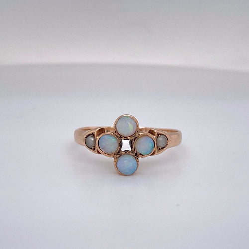 Vintage Natural Opal and Pearl Ring