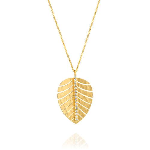 4685 - palm leaf diamond necklace in 14kt yellow hammered gold