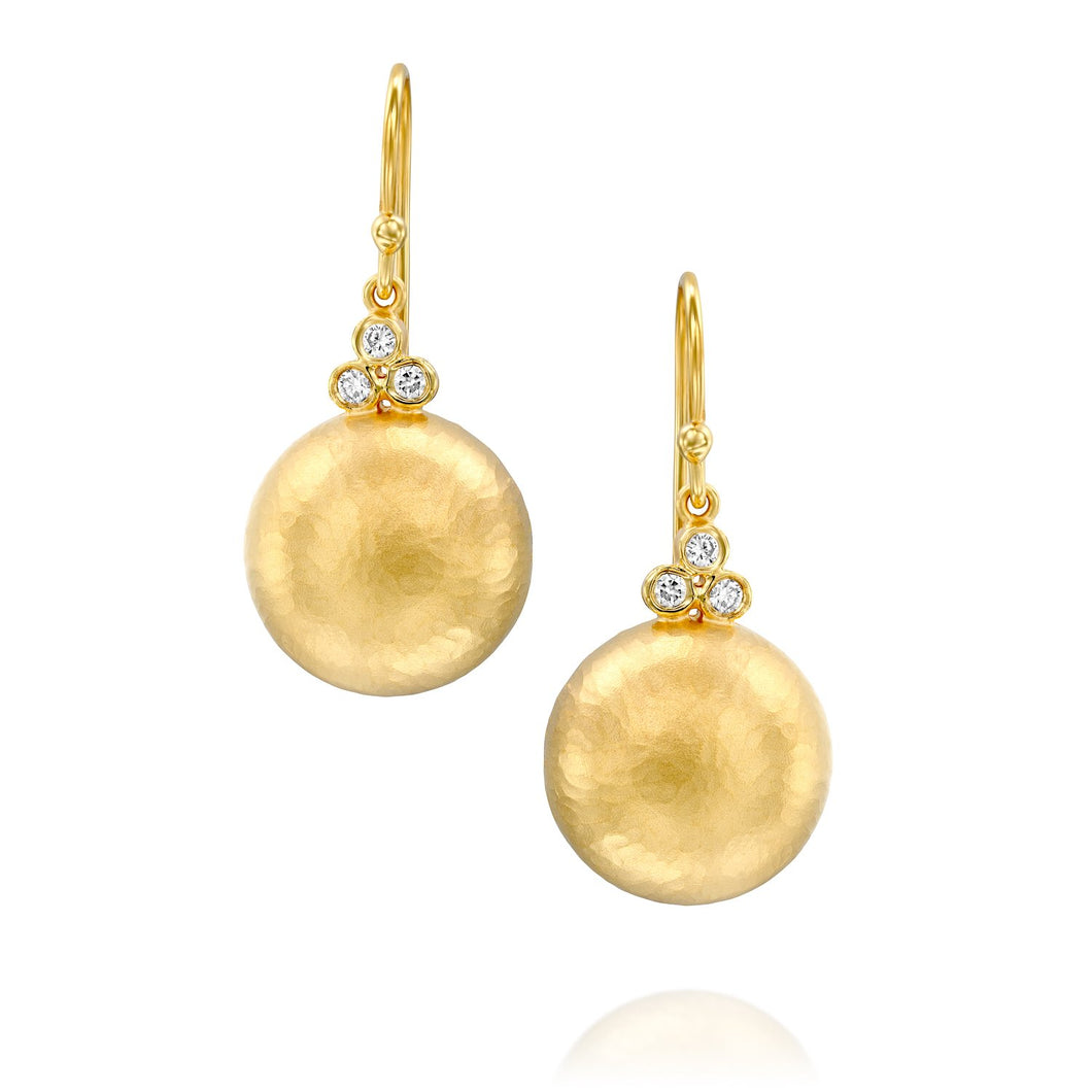5564 - classic dome round button drop earring in 14kt yellow hammered gold with white diamond