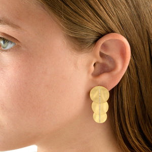 5588 - three circles wavy pave diamond earring, in 14kt matte satin yellow gold. post and friction back