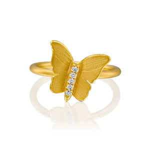5612 - 14kt butterfly design yellow gold ring in a unique handcrafted matte texture with shiny edges.  0.05cttw round brilliant cut natural white diamond.
