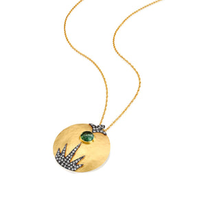 6097 - 14kt hammered yellow round necklace with green cabochon tourmaline, a diamond with black rhodium