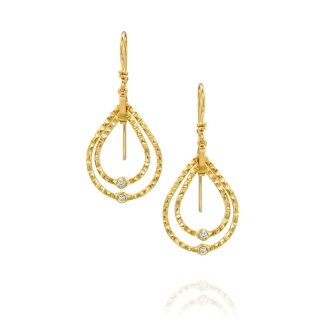 6162 - the unique textured double teardrop shape diamond drop earring in 14kt yellow gold