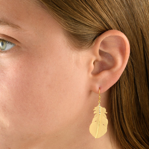 6303E - handmade Navajo father diamond drop earring in 14kt special engraving yellow gold
