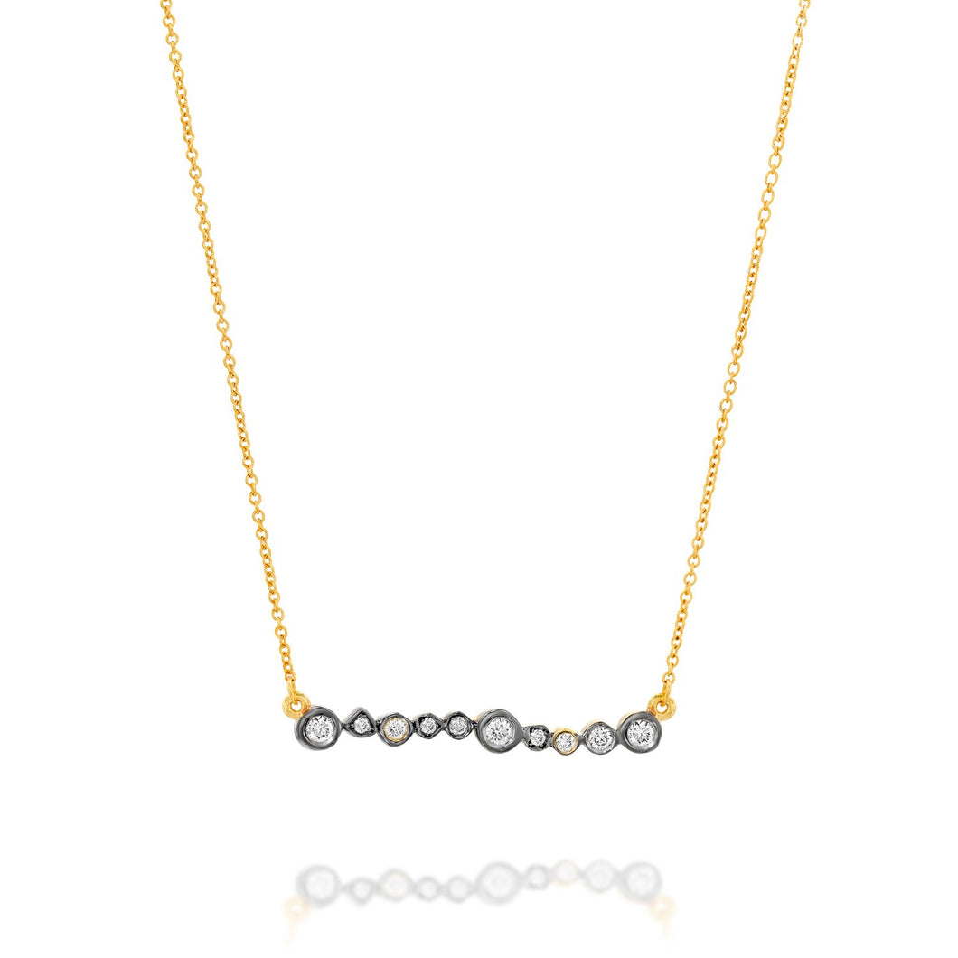 6603 - 14kt yellow gold diamond bar necklace with black rhodium