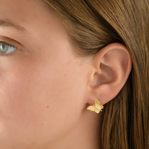 6652 - handcrafted special engraving diamond butterfly earring, in 14kt yellow gold. post and friction backs.